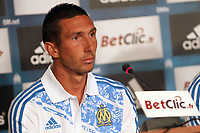FOOTBALL - MISCS - FRENCH CHAMPIONSHIP 2011/2012 - LIGUE 1 -OLYMPIQUE MARSEILLE - 29/06/2011 - PHOTO PHILIPPE LAURENSON / DPPI - MARSEILLE'S NEWS PLAYERS MORGAN AMALFITANO DURING HIS PRESENTATION