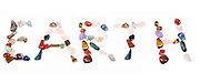 New age crystals and gemstones spelling out Earth