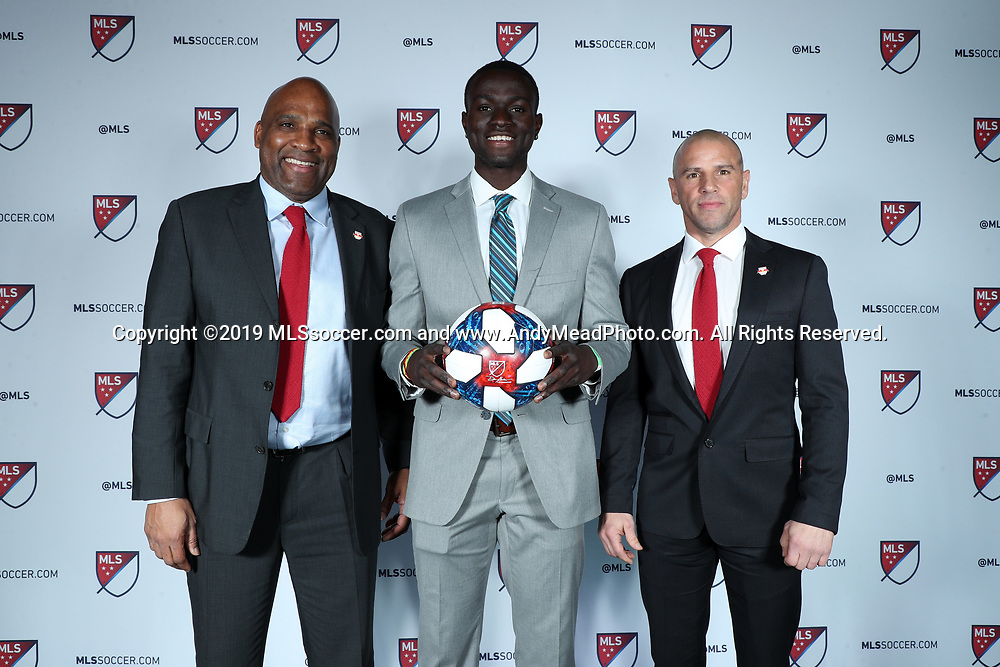 CHICAGO, IL - JANUARY 11: Roy Boateng was taken with the sixteenth overall pick by New York Red Bulls. With sporting director Denis Hamlett (left) and head coach Chris Armas (right). The MLS SuperDraft 2019 presented by adidas was held on January 11, 2019 at McCormick Place in Chicago, IL.