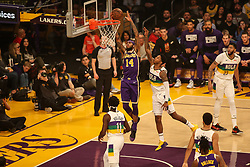 February 27, 2019 - Los Angeles, CA, U.S. - LOS ANGELES, CA - FEBRUARY 27: Los Angeles Lakers Guard Brandon Ingram (14) going in for a dunk during the first half of the New Orleans Pelicans versus Los Angeles Lakers game on February 27, 2019, at Staples Center in Los Angeles, CA. (Photo by Icon Sportswire) (Credit Image: © Icon Sportswire/Icon SMI via ZUMA Press)