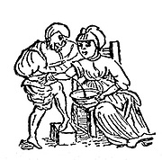 Blood letting. Physician bleeding a patient from the arm. Woodcut from a translation by Sir John Harrington of a 12th or 13th century poem  based on the Salernian Rule of Health and published 1596.  'To bleed doth cheer the pensive, and remove/The raging