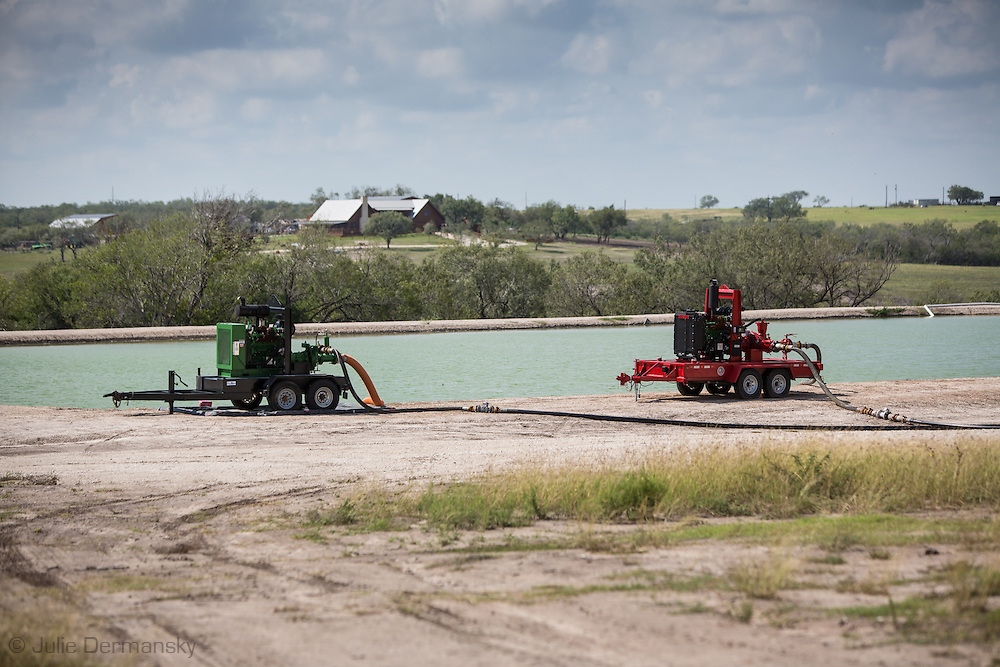 October14, 2013, Frack pond in Karnes County Texas, in the Eagle Ford Shale region  in where hydrolic fracturing is the very active.