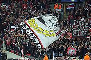 Bayer Leverkusen flags waving before k/o. UEFA Champions league match, group E, Tottenham Hotspur v Bayer Leverkusen at Wembley Stadium in London on Wednesday 2nd November 2016.<br /> pic by John Patrick Fletcher, Andrew Orchard sports photography.