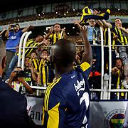 Fenerbahce's Sow and supporters during their Turkish superleague soccer match Fenerbahce between Antalyaspor at the Sukru Saracaoglu stadium in Istanbul Turkey on Sunday 30 August 2015. Photo by Kurtulus YILMAZ/TURKPIX