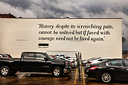 A Maya Angelou quote, painted on a car park wall, close by the various Civil Rights museums on 3rd March 2020 in Montgomery, Alabama, United States. Downtown Montgomery is now attracting new visitors due to the recently built Stevenson memorial and museum.