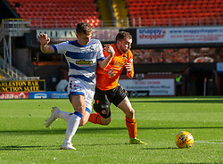 Morton's Luca Colville and Dundee United's Paul McMullan. Dundee United 6 v 0 Morton, Scottish Championship game played 28/9/2019 at Dundee United's stadium Tannadice Park.