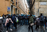 Sit-in di protesta dei movimenti per il diritto alla casa contro la manifestazione organizzata da 'Noi con Salvini' contro la legge sullo Ius Soli,Roma 10 Dicembre 2017. Christian Mantuano / OneShot<br /> <br /> Protest against the demonstration of Lega nord party and its leader Matteo Salvini, on December 11, 2017 in Rome. Christian Mantuano / OneShot