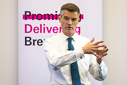 © Licensed to London News Pictures. 11/06/2019. London, UK. Mark Harper MP, who is running to be Leader of the Conservative Party and the next Prime Minister, speaks at the official launch event for his leadership campaign. Photo credit: Rob Pinney/LNP