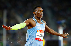Botswana's Isaac Makwala celebrates winning gold in the Men's 400m Final at the Carrara Stadium during day six of the 2018 Commonwealth Games in the Gold Coast, Australia.