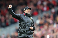 Football - 2018 / 2019 Premier League - Liverpool vs. Chelsea<br /> <br /> Liverpool Manager Jurgen Klopp punches the air in celebration at the end of the match, at Anfield.<br /> <br /> COLORSPORT/PAUL GREENWOOD