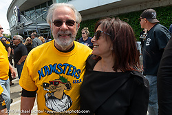 Beverly Ness gets hugs and well-wishes from Roberto Ambrosetti who came all the way from Italy for the Arlen Ness Memorial - Celebration of Life at the Arlen Ness Motorcycles store. Dublin, CA, USA. Saturday, April 27, 2019. Photography ©2019 Michael Lichter.