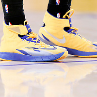 11 April 2014: Close view of Golden State Warriors guard Klay Thompson (11) shoes during the Golden State Warriors 112-95 victory over the Los Angeles Lakers at the Staples Center, Los Angeles, California, USA.