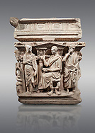 """End panel of a Roman relief sculpted Hercules sarcophagus with kline couch lid, """"Columned Sarcophagi of Asia Minor"""" style typical of Sidamara, 250-260 AD, Konya Archaeological Museum, Turkey. Against a grey background .<br /> <br /> If you prefer to buy from our ALAMY STOCK LIBRARY page at https://www.alamy.com/portfolio/paul-williams-funkystock/greco-roman-sculptures.html . Type -    Konya     - into LOWER SEARCH WITHIN GALLERY box - Refine search by adding a subject, place, background colour, museum etc.<br /> <br /> Visit our ROMAN WORLD PHOTO COLLECTIONS for more photos to download or buy as wall art prints https://funkystock.photoshelter.com/gallery-collection/The-Romans-Art-Artefacts-Antiquities-Historic-Sites-Pictures-Images/C0000r2uLJJo9_s0"""