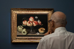 """© Licensed to London News Pictures. 06/07/2015. London, UK.  A visitor looks at Fede Galizia's """"Crystal fruit stand with peaches, quinces amd jasmine flowers"""" (est. £1.2m to £1.8m) at the preview of Old Masters, British Paintings and Masterworks from the collection of Castle Howard at Sotheby's ahead of the auction on July 8. Photo credit : Stephen Chung/LNP"""