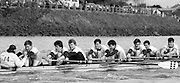 Chiswick. London.<br /> Eights starting from Mortlake. London RC<br /> <br /> 1987 Head of the River Race over the reversed Championship Course Mortlake to Putney on the River Thames. Saturday 28.03.1987. <br /> <br /> [Mandatory Credit: Peter SPURRIER;Intersport images] 1987 Head of the River Race, London. UK