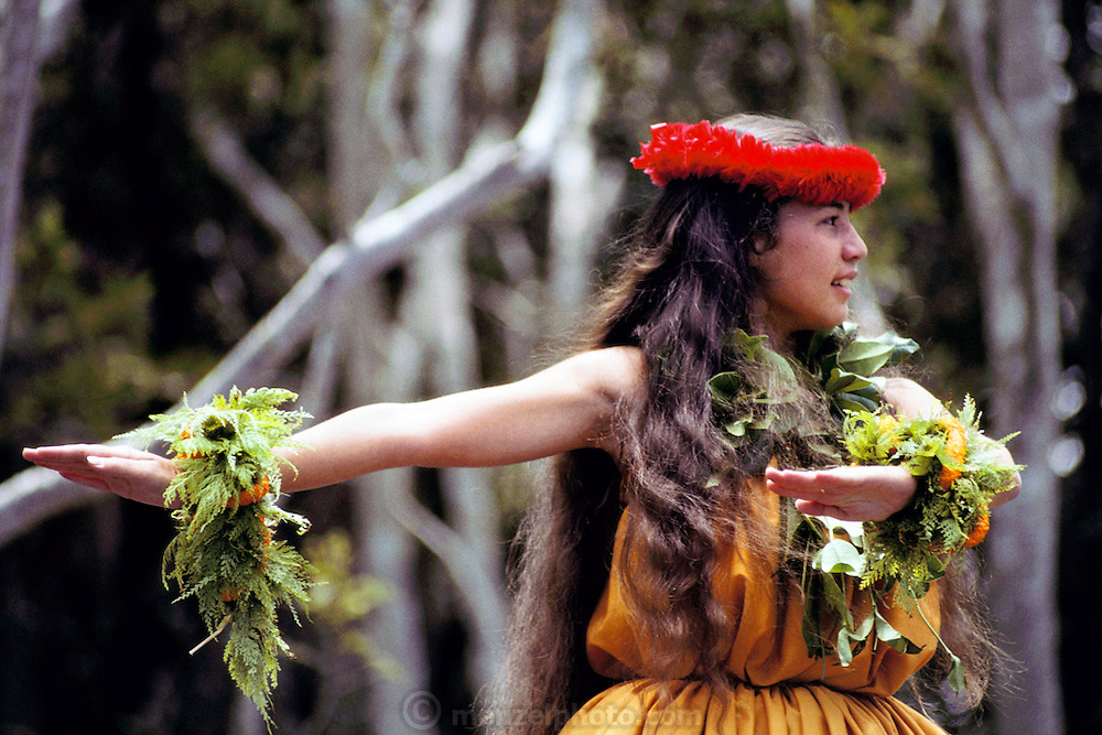 Hula dancer. Volcano, Hawaii, Big Island. USA.