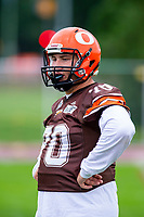 KELOWNA, BC - SEPTEMBER 8:  Lucas Spencer #70 of Okanagan Sun warms up against the Langley Rams  at the Apple Bowl on September 8, 2019 in Kelowna, Canada. (Photo by Marissa Baecker/Shoot the Breeze)