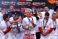 Photo: Ed Godden.<br />Manchester United v Wigan Athletic. The Carling Cup Final. 26/02/2006. Man Utd players celebrate their win.