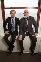 Founder and CEO of X5 Music, Johan Lagerlof, left, and the U.S. chief, Scott Ambrose Reilly, at the X5 Music offices in the Empire State Building in New York. ..Photo by Robert Caplin..