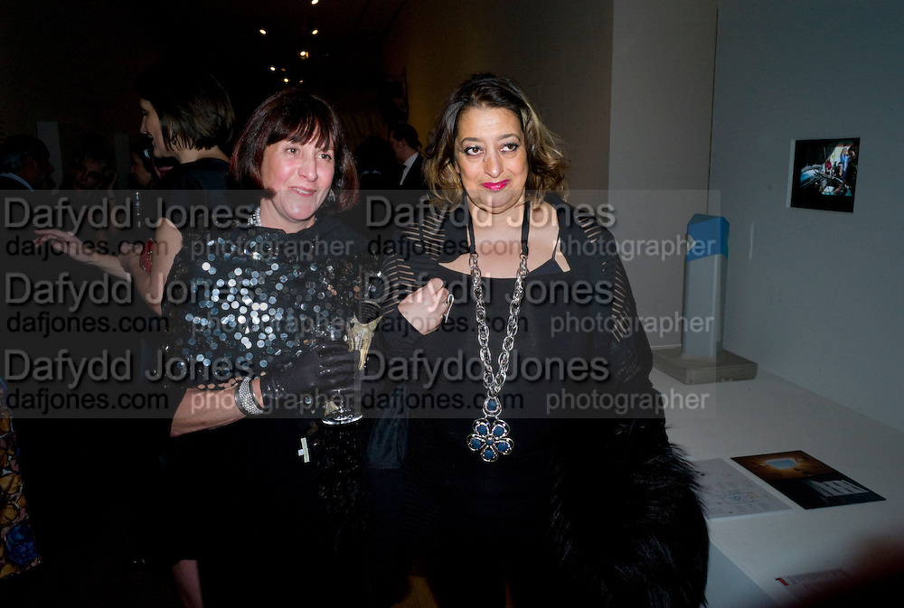 JANICE BLACKBURN; ZAHA HADID, brit Insurance Design Awards 2009. Design Museum. London. 18 March 2009. *** Local Caption *** -DO NOT ARCHIVE-© Copyright Photograph by Dafydd Jones. 248 Clapham Rd. London SW9 0PZ. Tel 0207 820 0771. www.dafjones.com.<br /> JANICE BLACKBURN; ZAHA HADID, brit Insurance Design Awards 2009. Design Museum. London. 18 March 2009.