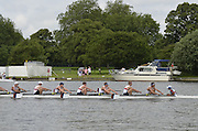 Henley, GREAT BRITAIN,  Princess Elizabeth Challenge Cup. Belmont Hill school USA leading Canford School during at the 1.1/8 mile post during  their Thursday race. 2012 Henley Royal Regatta. 2012 Henley Royal Regatta. ..Thursday  11:06:00  28/06/2012. [Mandatory Credit, Peter Spurrier/Intersport-images]...Rowing Courses, Henley Reach, Henley, ENGLAND . HRR.