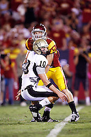 1 September 2007: #47 Clay Matthews tackles QB Nathan Enderle during USC Trojans college football team defeated the Idaho Vandals 38-10 at the Los Angeles Memorial Coliseum in CA.  NCAA Pac-10 #1 ranked team first game of the season.