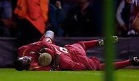 Photo: Jed Wee.<br />Liverpool v Anderlecht. UEFA Champions League.<br />01/11/2005.<br /><br />Liverpool's Momo Sissoko (L) celebrates with goalscorer Djibril Cisse.