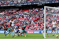 Dele Alli of Tottenham Hotspur (3rd left) scores his team's first goal. Premier league match, Tottenham Hotspur v Burnley at Wembley Stadium in London on Sunday 27th August 2017.<br /> pic by Steffan Bowen, Andrew Orchard sports photography.