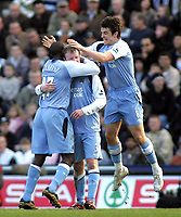 Photo: Paul Thomas.<br /> Preston North End v Manchester City. The FA Cup. 18/02/2007.<br /> <br /> Michael Ball (3) and Man City celebrate his goal.