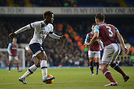 Joshua Onomah of Tottenham Hotspur (l) looks to go past Aaron Cresswell of West Ham United .Barclays Premier league match, Tottenham Hotspur v West Ham Utd at White Hart Lane in London on Sunday 22nd November 2015.<br /> pic by John Patrick Fletcher, Andrew Orchard sports photography.
