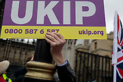 On the day that Prime Minister Theresa Mays Meaningful Brexit vote is taken in the UK Parliament, UKIP voters protest outside the House of Commons, on 15th January 2019, in Westminster, London, England.