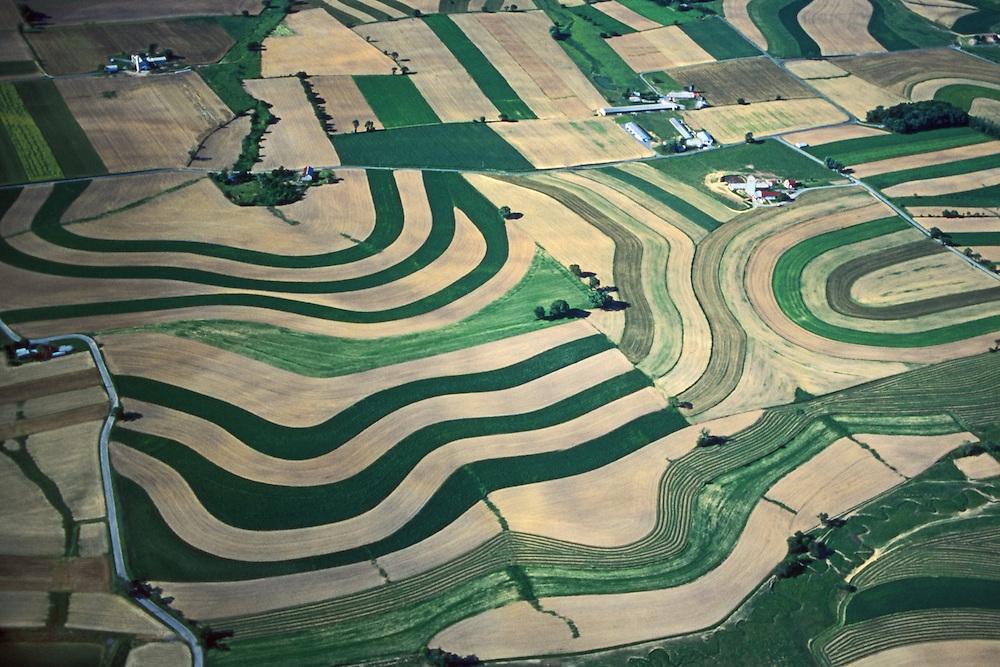 PA landscapes, Aerial of Farmlands, Contour Farming, Lehigh Co., Pennsylvania Aerial Photograph Pennsylvania