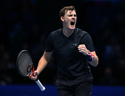 November 17, 2017 - London, England, United Kingdom - Jamie Murray (GBR) celebrates they win..during Day six of the Nitto ATP World Tour  Finals played at The O2 Arena, London on November 17 2017  (Credit Image: © Kieran Galvin/NurPhoto via ZUMA Press)
