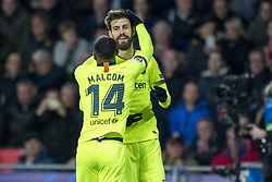 November 28, 2018 - Eindhoven, Netherlands - Gerard Pique and Malcom of Barcelona celebrates scoring during the UEFA Champions League Group B match between PSV Eindhoven and FC Barcelona at Philips Stadium in Eindhoven, Netherlands on November 28, 2018  (Credit Image: © Andrew Surma/NurPhoto via ZUMA Press)