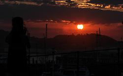 August 21, 2017 - Asturias, asturias, Spain - Solar Eclipse 2017 seen in the port off Gijon  (Credit Image: © Pacific Press via ZUMA Wire)