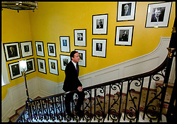 The Prime Minister David Cameron walks up the stairs in Number 10 Downing Street, London, UK. Photo By Andrew Parsons / i-Images.
