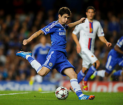 Chelsea Midfielder Oscar (BRA) shoots and scores during the first half of the match - Photo mandatory by-line: Rogan Thomson/JMP - Tel: 07966 386802 - 18/09/2013 - SPORT - FOOTBALL - Stamford Bridge, London - Chelsea v FC Basel - UEFA Champions League Group E