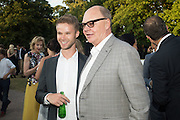 MAX LOGSDAIL; NICHOLAS LOGSDAIL;, Serpentine's Summer party co-hosted with Christopher Kane. 15th Serpentine Pavilion designed by Spanish architects Selgascano. Kensington Gardens. London. 2 July 2015.