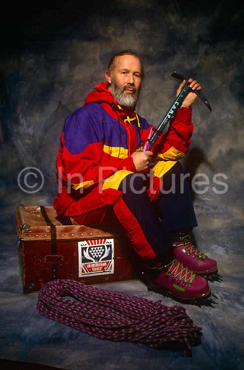 A formal portrait of the renowned British mountaineer, adventurer, lecturer and writer, Sir Chris Bonnington on 5th February 1993 at his home called Badger Hill, Wigton, Cumbria, England. Bonnigton is best known for his 1975 expedition to conquer Mount Everest though he was formerly an army officer in the Royal Tank Regiment before making mountaineering and the writing of these sometimes tragic outcomes a career.