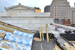 New Haven Courthouse GA 23 Phase 1. Project No: BI-JD-299<br /> Architect: JCJ Architecture  Contractor: Kronenberger Restoration<br /> James R Anderson Photography New Haven CT photog.com<br /> Date of Photograph: 26 August 2013<br /> Camera View: North, South Elevation Roof  No.: 30