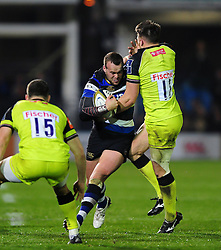 Michael van Vuuren of Bath Rugby takes on the Leicester Tigers defence - Mandatory byline: Patrick Khachfe/JMP - 07966 386802 - 04/11/2016 - RUGBY UNION - The Recreation Ground - Bath, England - Bath Rugby v Leicester Tigers - Anglo-Welsh Cup.