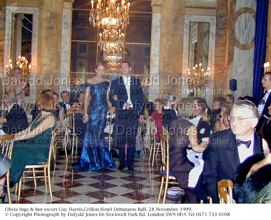 Olivia Inge & her escort Guy Harris.Crillon Hotel Debutante Ball. 28 November 1999.<br />© Copyright Photograph by Dafydd Jones 66 Stockwell Park Rd. London SW9 0DA Tel 0171 733 0108