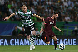 September 27, 2017 - Lisbon, Lisbon, Portugal - Sportings midfielder Jeremy Mathiey (L) and Barcelonas forward Lionel Messi from Argentina (R) during the match between Sporting CP v FC Barcelona UEFA Champions League playoff match at Estadio Jose Alvalade on September 27, 2017 in Lisbon, Portugal. (Credit Image: © Dpi/NurPhoto via ZUMA Press)