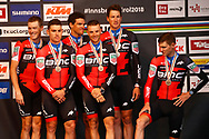 Rohan Dennis (AUS - BMC) - Patrick Bevin (AUS - BMC) - Greg Van Avermaet (BEL - BMC) - Damiano Caruso (ITA - BMC) - Stefan Kung (SUI - BMC) - Rohan Dennis (AUS - BMC) during the 2018 UCI Road World Championships, Men's Team Time Trial cycling race on September 23, 2018 in Innsbruck, Austria - Photo Luca Bettini / BettiniPhoto / ProSportsImages / DPPI
