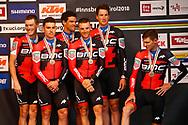 Rohan Dennis (AUS - BMC) - Patrick Bevin (AUS - BMC) - Greg Van Avermaet (BEL - BMC) - Damiano Caruso (ITA - BMC) - Stefan Kung (SUI - BMC) - Rohan Dennis (AUS - BMC) during the 2018 UCI Road World Championships, Men's Team Time Trial cycling race on September 23, 2018 in Innsbruck, Austria - Photo Luca Bettini / BettiniPhoto / ProSportsImages / DPPI