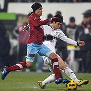 Trabzonspor's Gustavo COLMAN (L) during their Turkish Superleague Derby match Besiktas between Trabzonspor at the Inonu Stadium at Dolmabahce in Istanbul Turkey on Sunday, 06 March 2011. Photo by TURKPIX