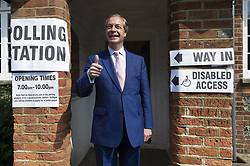 May 23, 2019, Biggin Hill, UK: Brexit party leader NIGEL FARAGE arrives at a polling station in Biggin Hill to vote in the European Elections. (Credit Image: © Ray Tang/London News Pictures via ZUMA Wire)