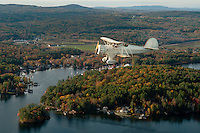 Lakes Biplane taking a scenic fall foliage flight over the Lakes Region of New Hampshire.
