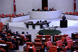 July 27, 2017 - Ankara, Turkey - July 27, 2017 - Ankara, Turkey - Main opposition Republican People's Party (CHP) lawmakers have staged a protest in the parliament, arguing they had not been given enough of the floor to speak during parliamentary discussions for a by-law amendment draft, on July 27, in Ankara, Turkey. Installing the sound system that they had brought in, CHP lawmakers expressed their determination in pursuing their protest. (Credit Image: © Depo Photos via ZUMA Wire)