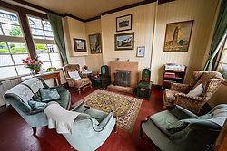 Interior of waiting room at Boat of Garten railway station on the Strathspey Railway, Highland Region, Scotland, UK